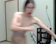 Goofy naked webcam dance