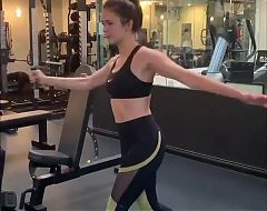 Nina Dobrev working out at the gym
