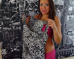 Hot chick Pregnant Lacy Luck trying on clothes.